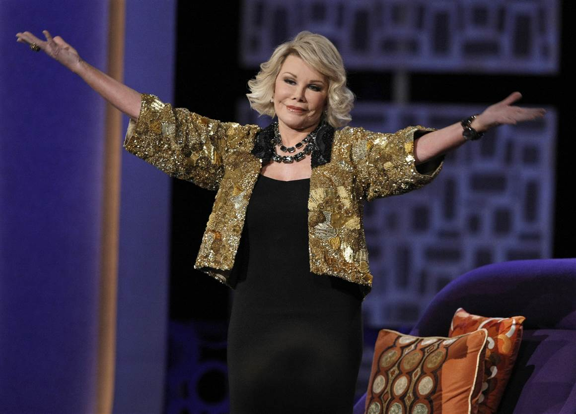 "Here Joan Rivers was greeting the audience at the ""Comedy Central Roast of Joan Rivers"" in Los Angeles in 2009."