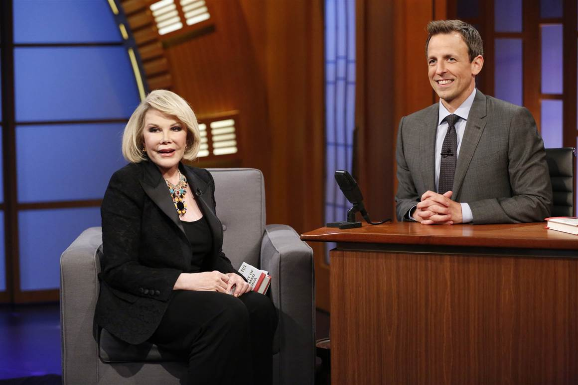 "Joan Rivers appears on ""Late Night with Seth Meyers"" on Aug. 4, 2014."