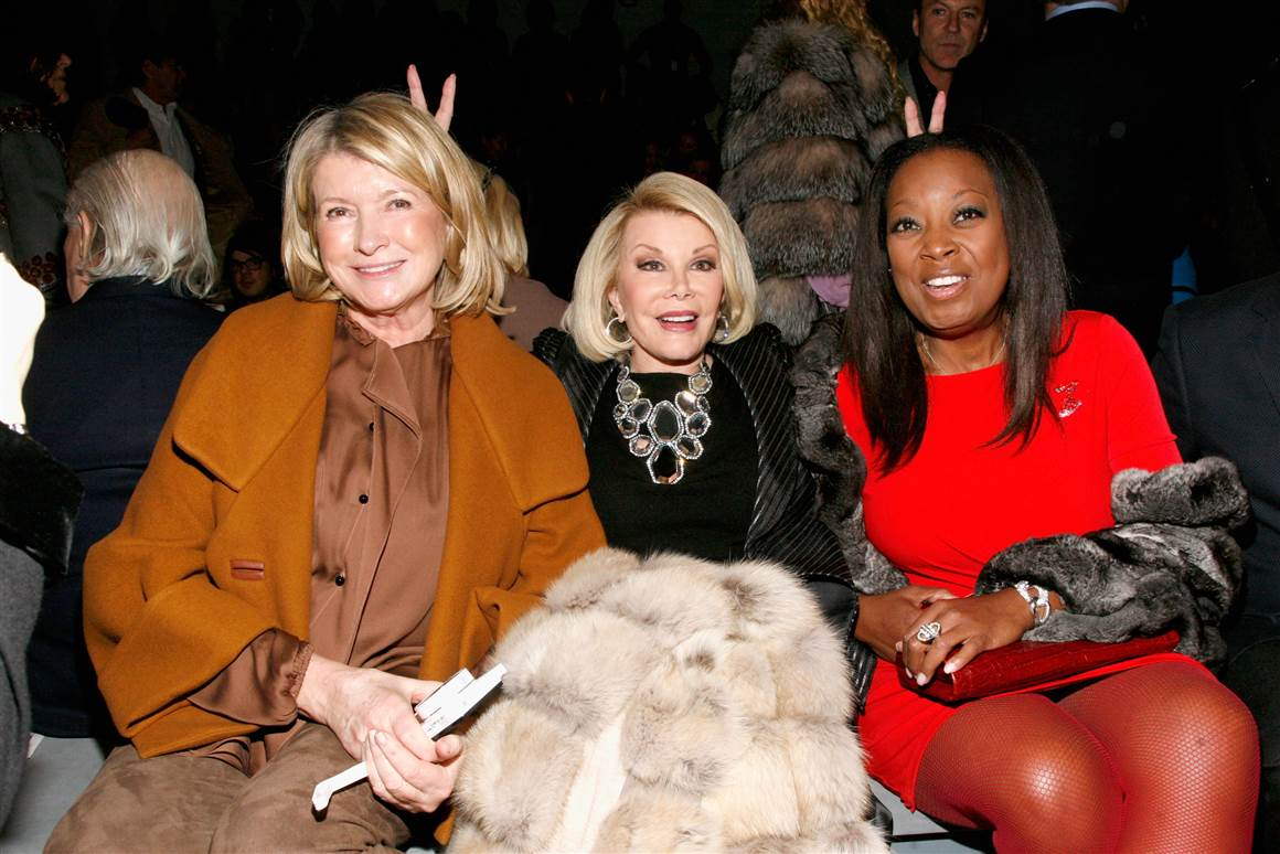From left, Martha Stewart, Joan Rivers and Star Jones attend a show at New York's Fashion Week in 2013.
