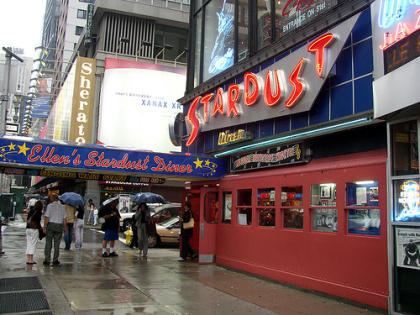 1950's-themed eatery of Ellen's Stardust Diner in Times Square