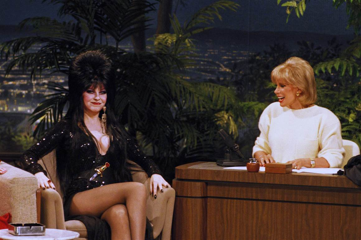 "Guest host Joan Rivers talks with Elvira on ""The Tonight Show"" on Halloween night 1985."