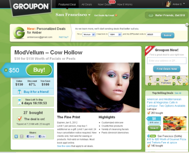Groupon introduces Yelp-like pages