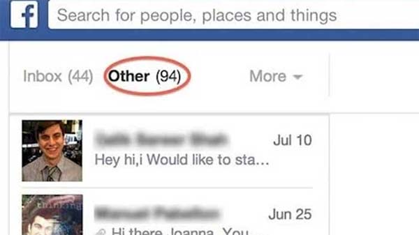 Facebook Secret Message Inbox