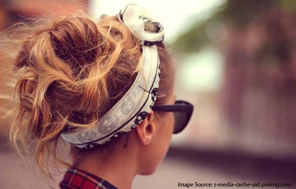 Silk scarf and messy bun