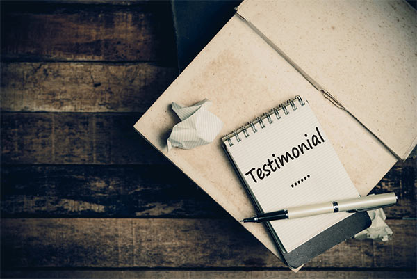 receive testimonials from the clients