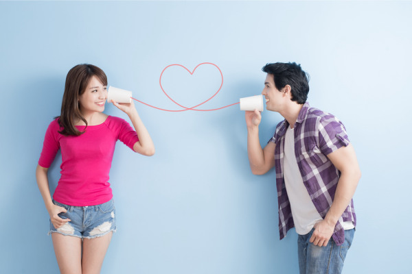 Young Couple Can Phone Isolated