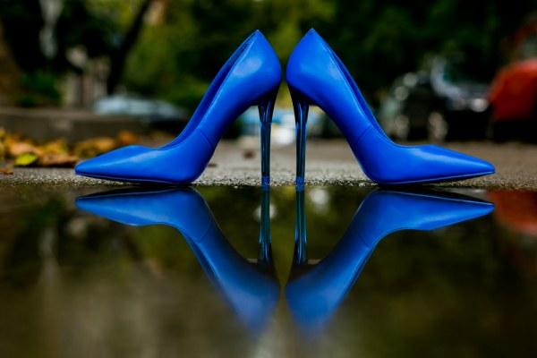 Blue High Heels Shoes Pump Bride